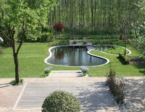 large garden with pond